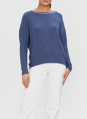 Blue Boat Neck Pullover With Contrast Piping