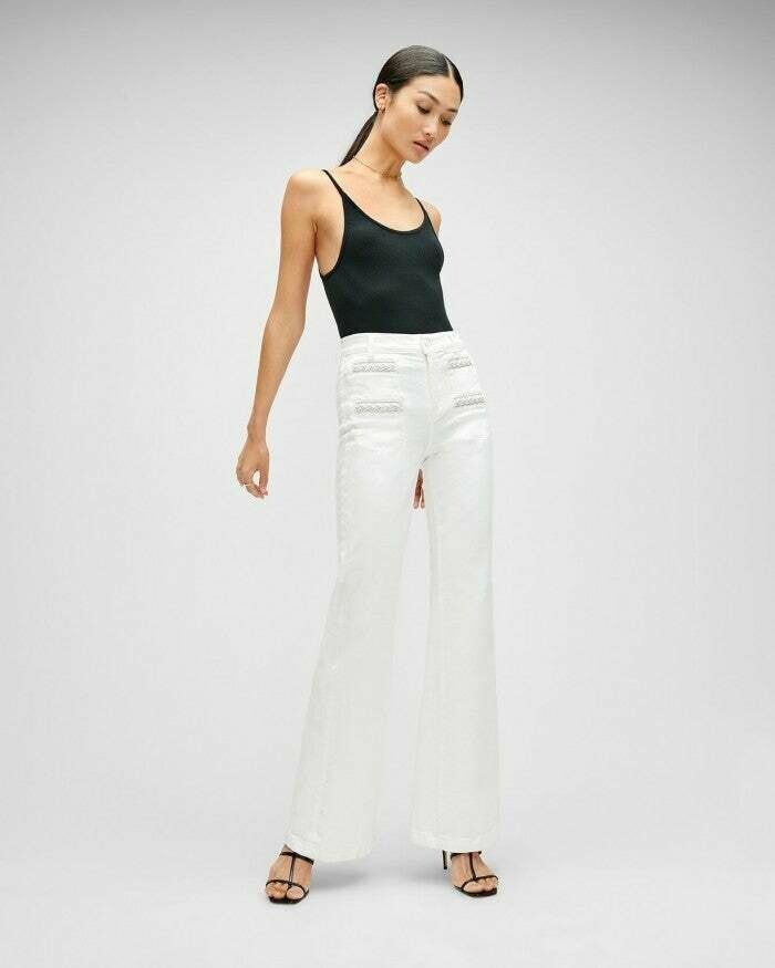 White Braided Pocket Wide Leg Jean