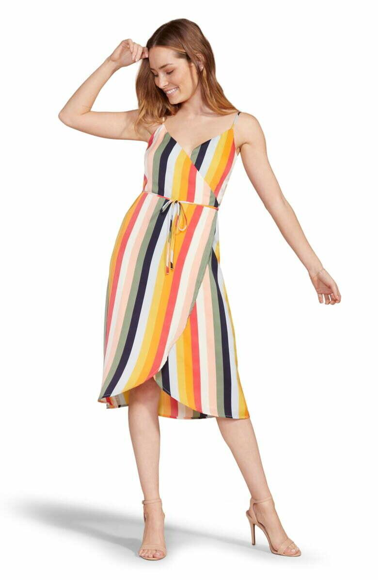 Rainbow Stripe Wrap Dress
