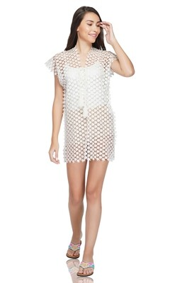 White Starry Crochet Swimsuit Coverup