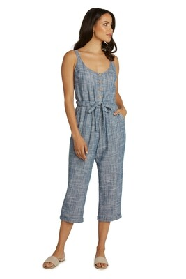 Chambray Cropped Jumpsuit