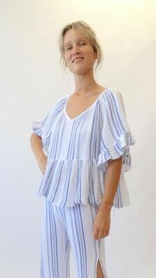 White & Blue Striped Breezy Peplum Shirt