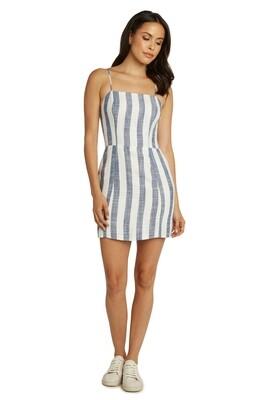 Chambray & White Vertical Stripe Strap Dress