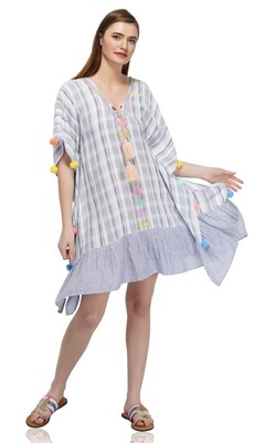 Striped Embroidered Caftan With Pom-Poms