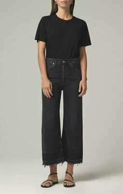 COH Dark Gray High Rise Wide Leg Jean with Raw Hem