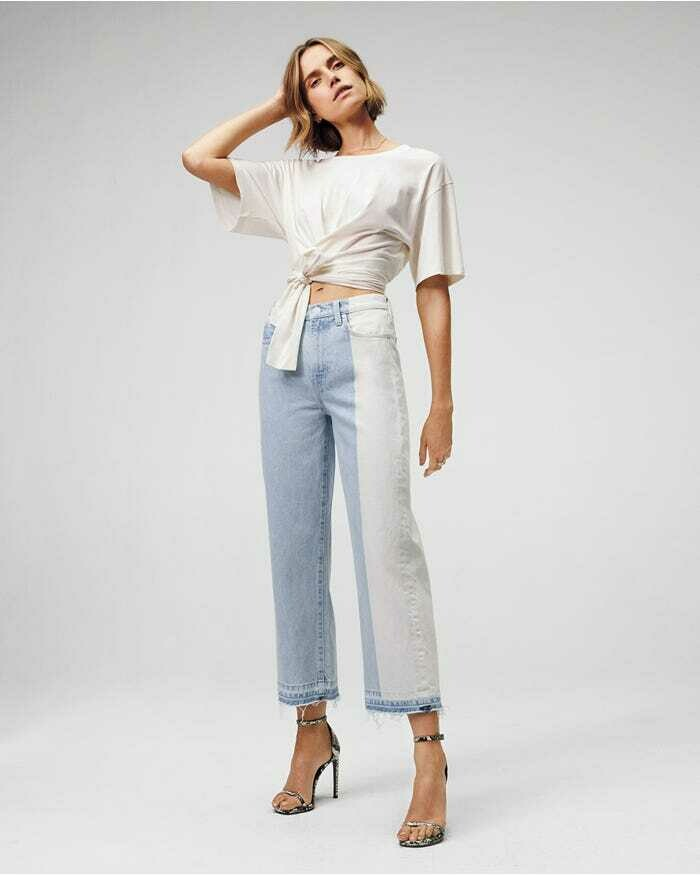 White & Light Wash Two-Tone Cropped Wide Leg Jean