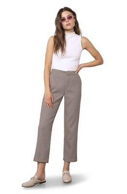 Walnut Houndstooth Straight Leg Pant