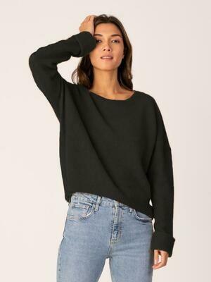 Black Cashmere & Silk Blend Crewneck Sweater