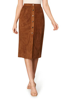 Toffee Faux Suede Button Down Pencil Skirt