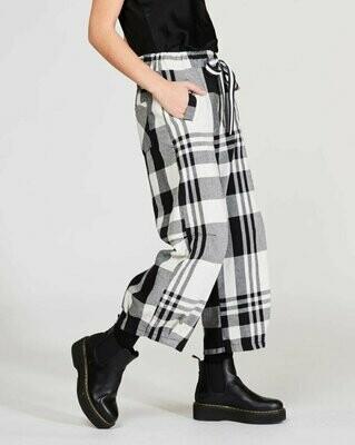 Black & White Madras Drawstring Sweatpants