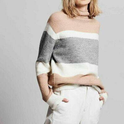 Camel, Cream & Gray Striped Mockneck Sweater