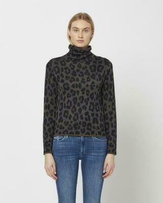 Purple & Taupe Leopard Mock Neck Sweater