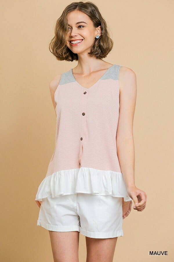 A4894 Striped Button VNeck