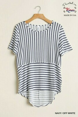 T6307 Striped Navy/White Top