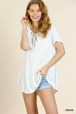 R7571 Cream Vneck Drawstring