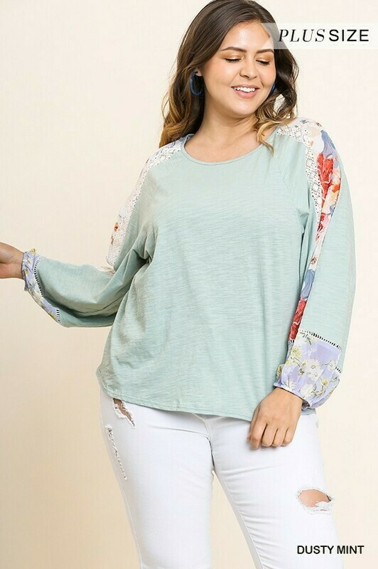 WA4808 Mint Floral long sleeve