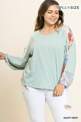 WA4808 Mint Floral long sleeve
