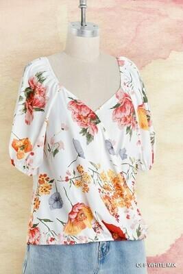 A5634 Floral Print Puff
