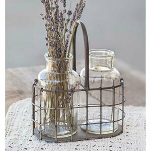 CTW - Farmhouse Caddy with two glass bottles