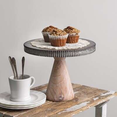 Metal Dessert Stand With Wood