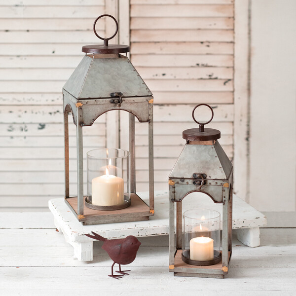 CTW - Set of Two Galvanized Candle Lanterns with wood base