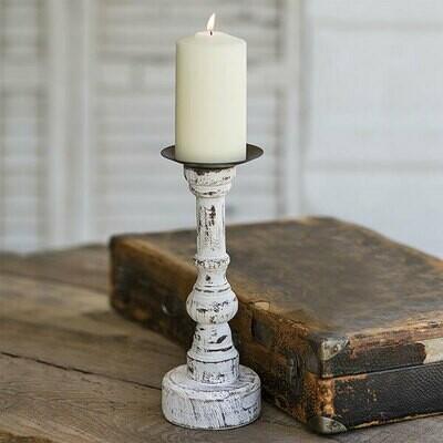 Wood Candle Holder with Round Base