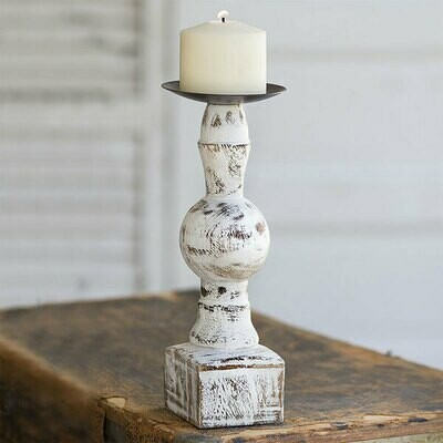 Wood Candle Holder with Square Base