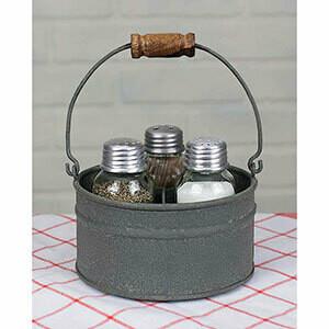 CTW - Round Bucket Salt/Pepper/tooth picks