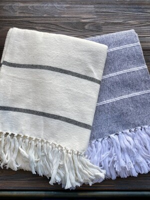 Brushed Cotton Gray Ivory Stripe Throw