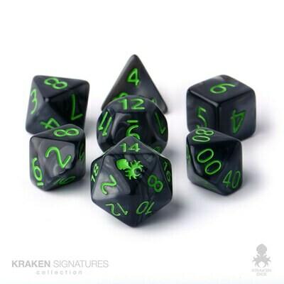 Kraken Dice 7pc Black with Green Ink