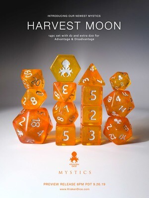 Harvest Moon 12pc Silver Ink Dice