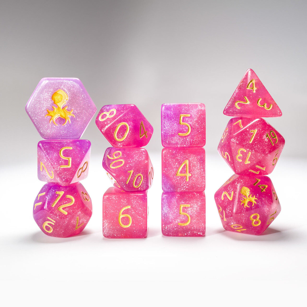 Hydrangea 12pc Glimmer RPG Dice Set with Gold Ink