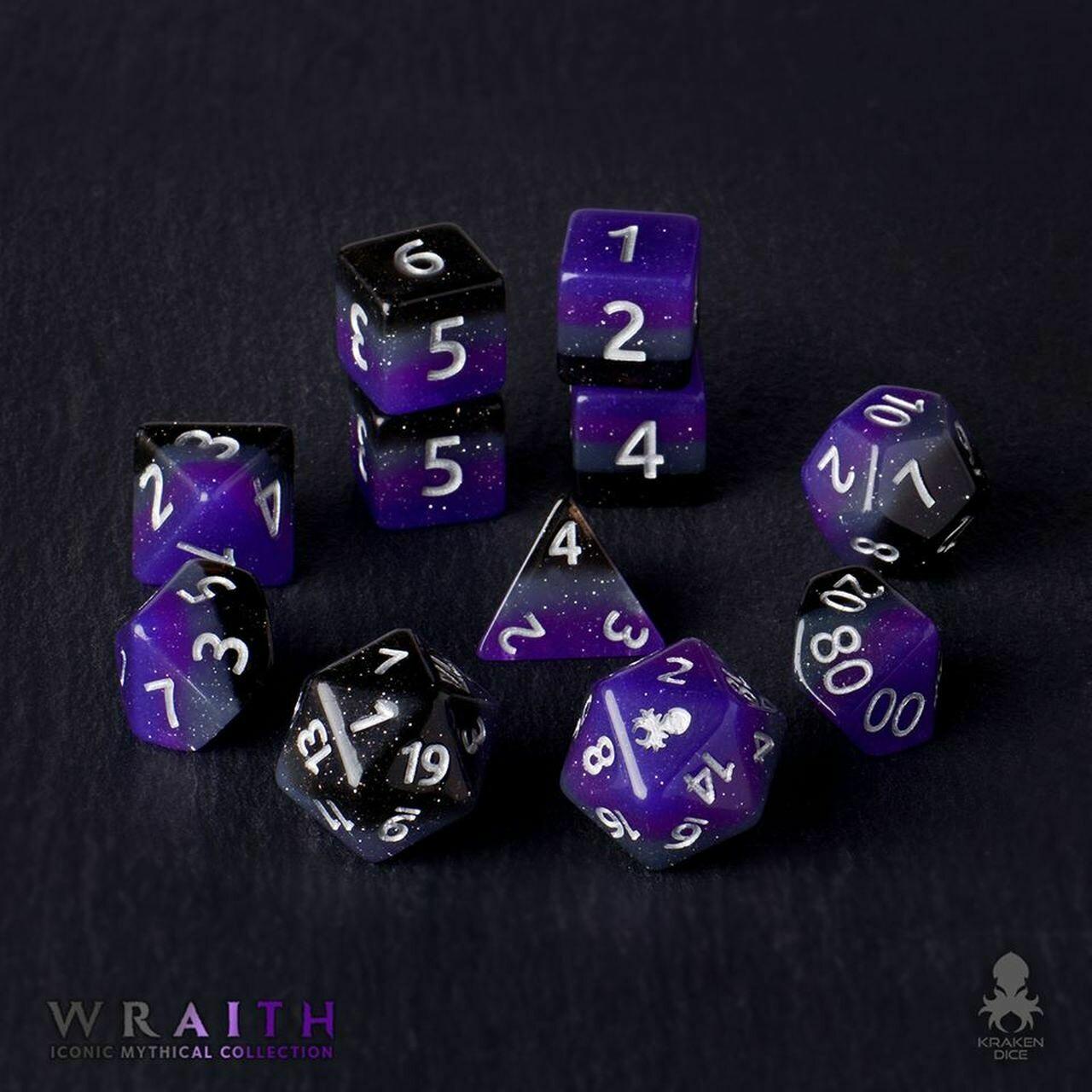 Wraith 12pc Silver Ink Dice Set With Kraken Logo