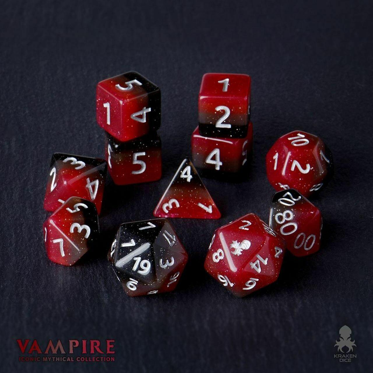 Vampire 12pc Silver Ink Dice Set With Kraken Logo