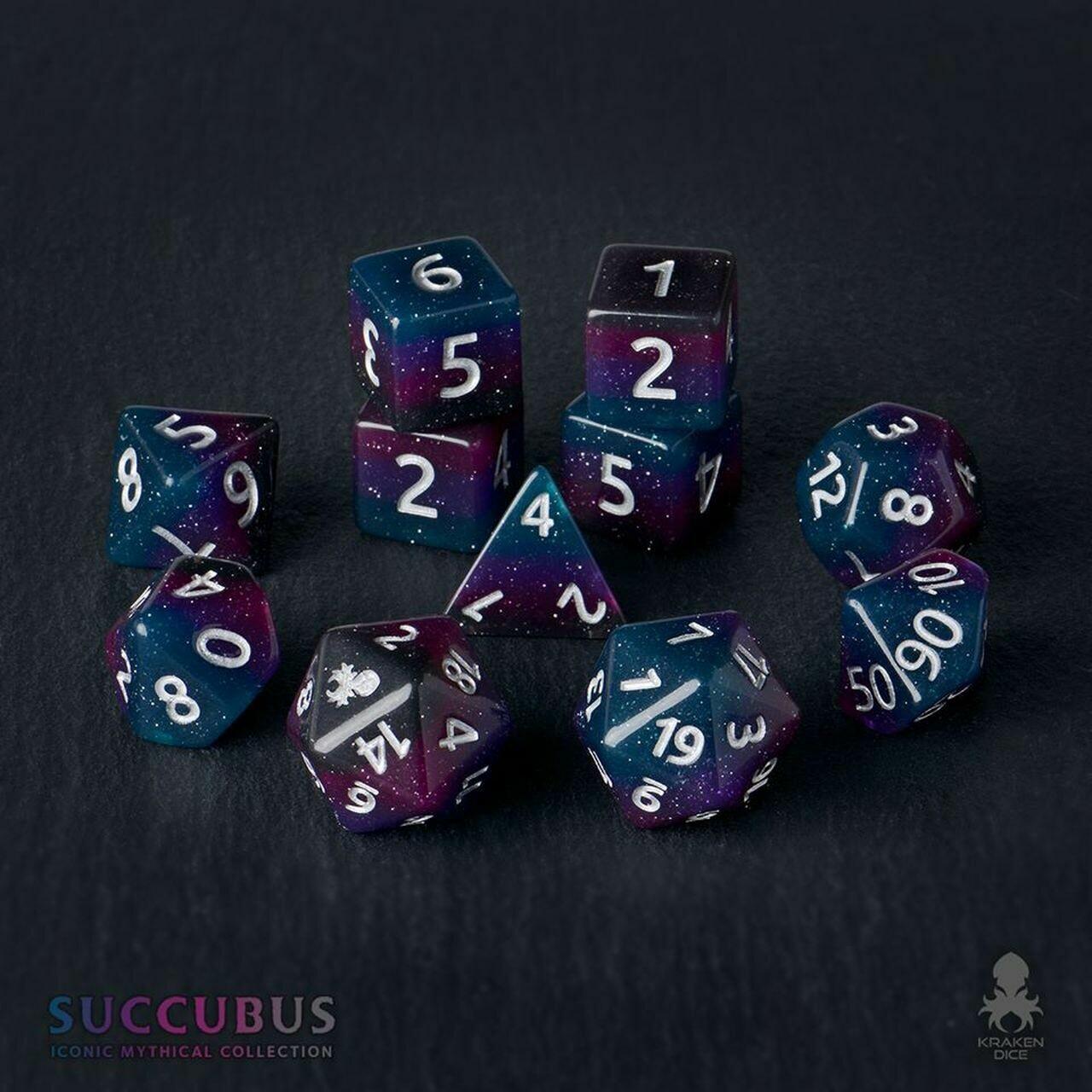 Succubus 12pc Silver Ink Dice Set With Kraken Logo