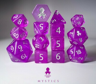 Nightshade: Heirloom 12pc Silver Ink Dice