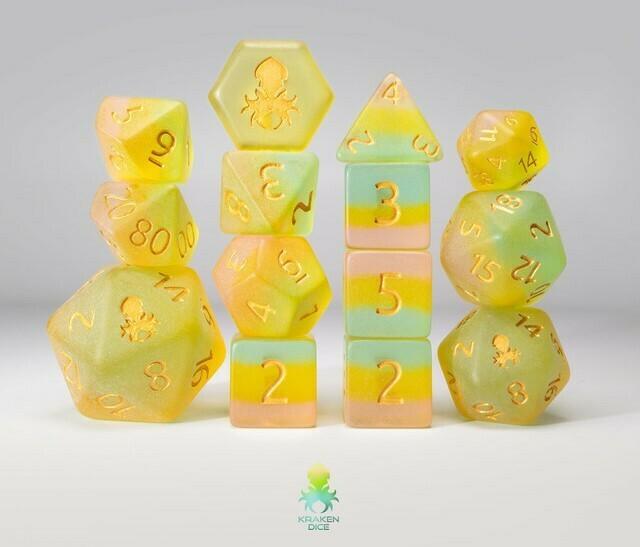 Sea-lie Glass 12pc Gold Ink Matte Dice Set