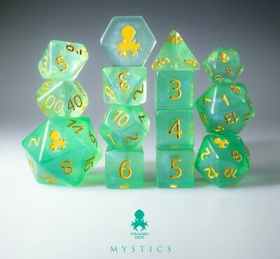 Siren's Call 12pc Gold Ink Dice Set With Kraken Logo