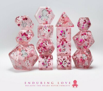 Love Sick - Pink with Red Hearts 14pc Limited Edition Dice