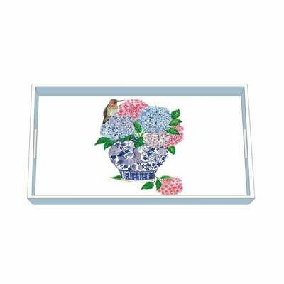 PPD Dynasty Bouquet Wood Lacquered Vanity Tray
