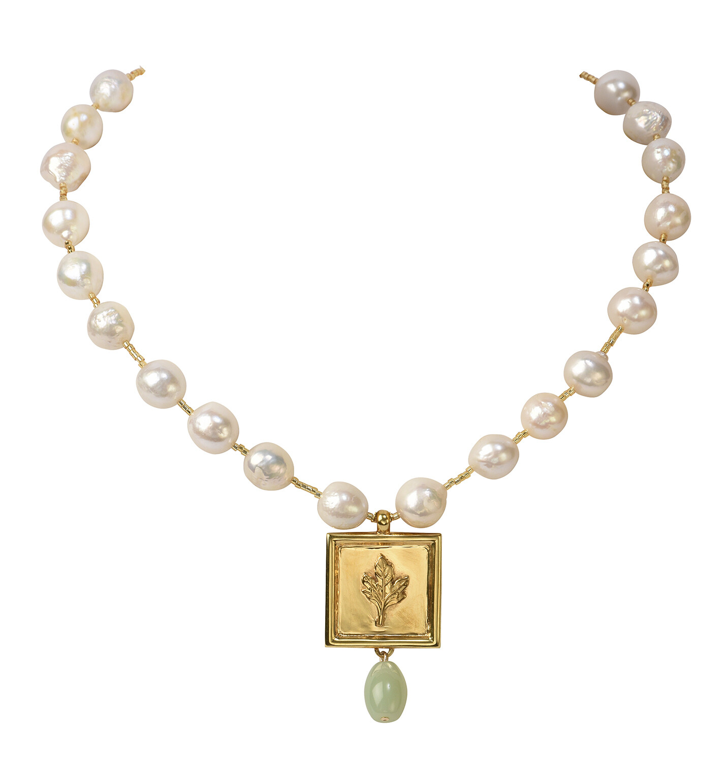 POM Baroque Pearls with Green Agate Drop Necklace