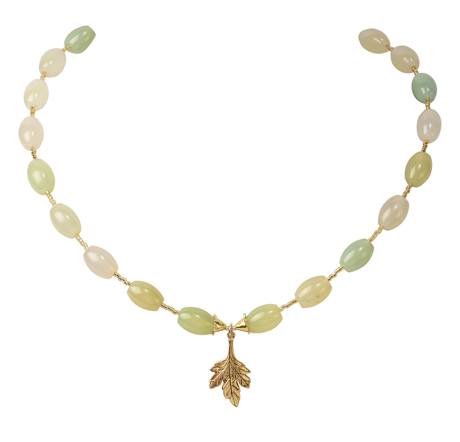 POM Oval Green/Yellow Agate Necklace