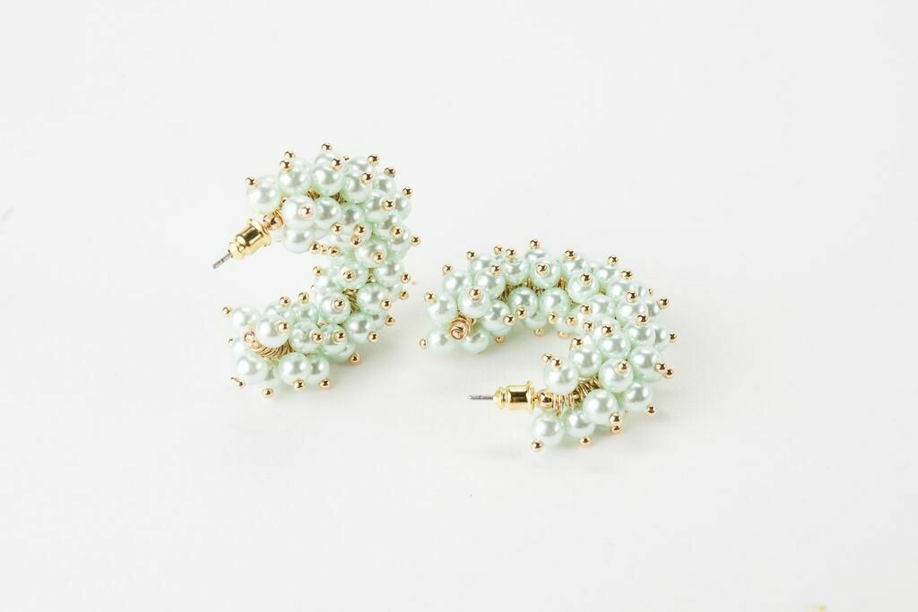 "VB Tallulah 1.25"" Hoop Earrings Mint"