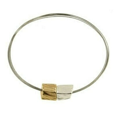 OR Matte Silver/Light Matte Gold Cube Bracelet