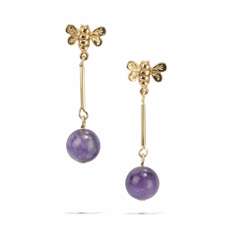 POM Bayley Earrings with Amethyst Drops