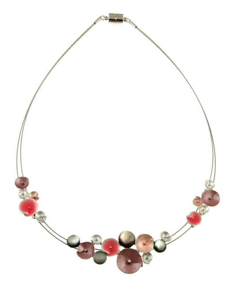 OR Orange & Pink Glitter Flower Necklace