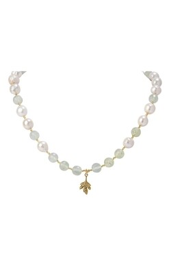 POM Prehnite  and Baroque Pearls with Leaf Necklace