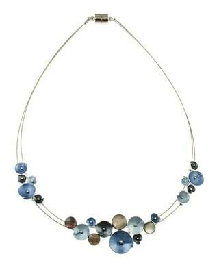 OR Blue Glitter Flower Necklace