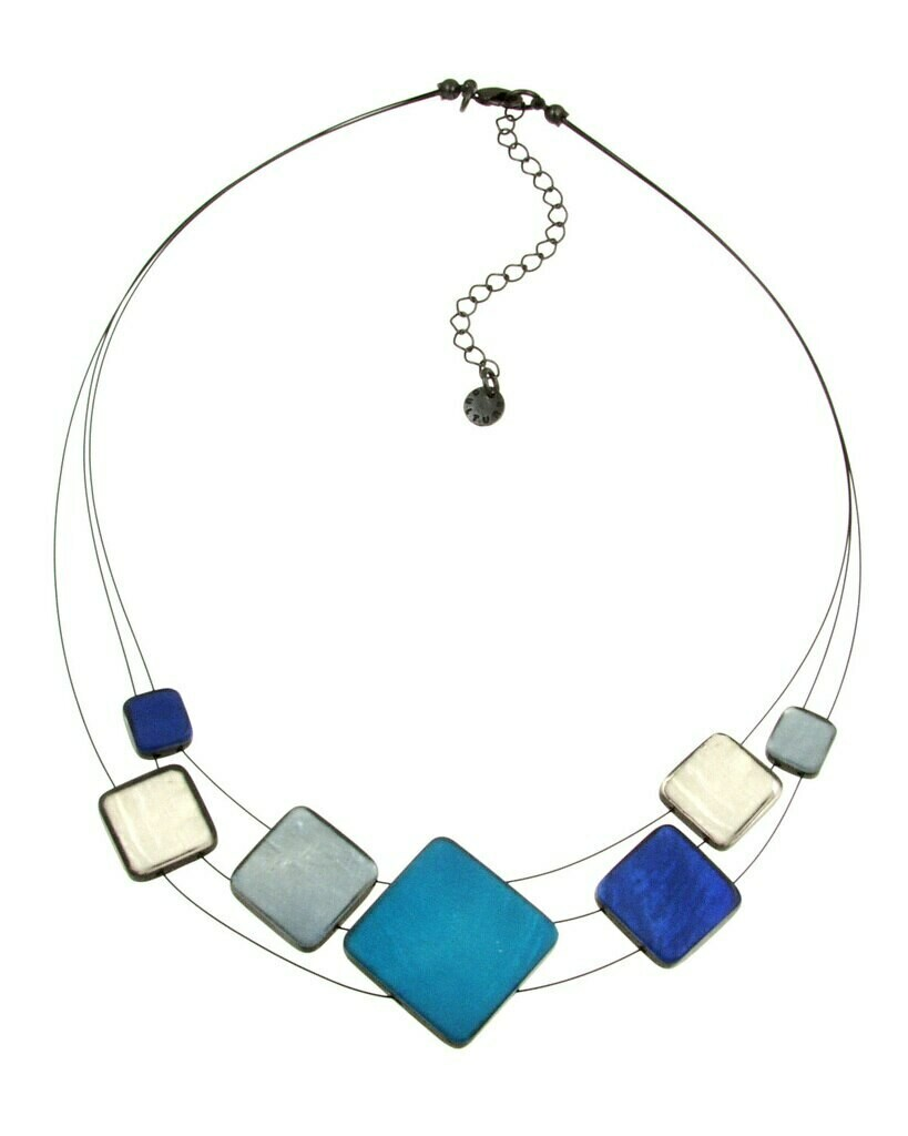 OR Multi Square Blue Strand Necklace