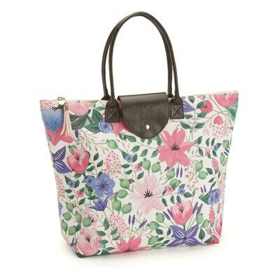 TC White Floral Tote Bag